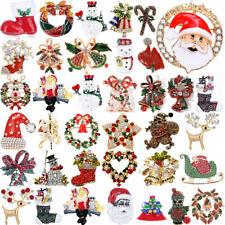 Cute Crystal Christmas Santa Claus Garland Snowman Brooch Pin Corsage Xmas Gift