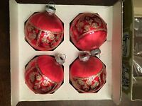 K6) Vintage Set of Four Lanissa Christmas Tree Red and Gold Trim Ball Ornaments