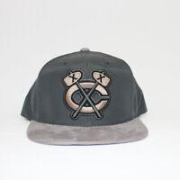 Mens Mitchell Ness Chicago Blackhawks NHL Vintage Logo Buttery Snapback Gray