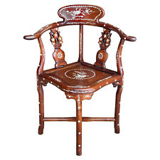 Vintage Chinese Carved Rosewood Mother of Pearl Inlay Motif Corner Chair