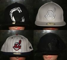 New Era Cleveland Indians Fitted Hat Cap 7 1/8 1/4 1/2 8 Black White Blue