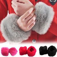 2Pcs Women Winter Faux Fur Fluffy Wrist Cuff Warmer Clothes Sleeve Wristband