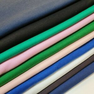 "Soft Plain Colour Cotton Jersey Stretch Knit T Shirt Baby Grow Dress Fabric 58"""