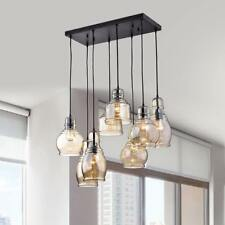 8-Lights Cognac Glass Cluster Chandeliers Antique Black Pendant Ceiling Lamps