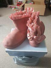Girls Pink Frill Boots Size 7 Eu 25