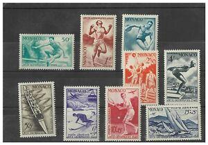 Monaco 1948 Olympics Set/9 Stamps Scott 204/8, CB7/10 (Mi.339/47) Fresh MUH 17-3