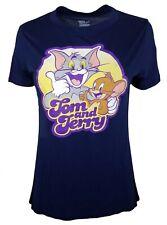 Tom And Jerry Women's Juniors Navy Blue Short Sleeve Shirt L