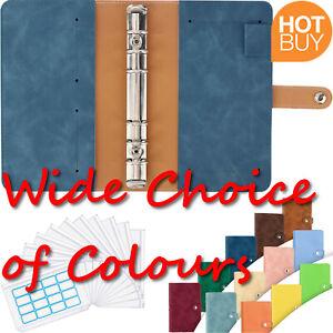 A6 Notebook Budget Binder PU Leather Loose-Leaf 12 x Clear Envelopes 16 x Labels