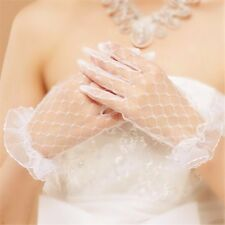 Women White Lace Finger Wedding Bridal Evening Party Accessory Elegant Gloves