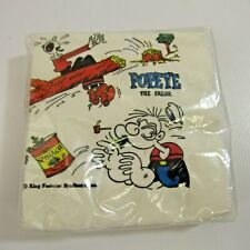 "Vintage Popeye the Sailor Napkins NEW Old Stock 5"" Olive Oyl Spinach 20-Pack"