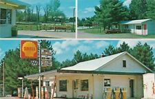 NW Interlochen Traverse MI 1950s FUN view of BUDS SHELL OIL GAS STATION & MORE!