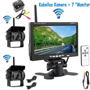 """2x 12V/24V FUNK Rückfahrkamera Kamera 7"""" Auto Monitor Kabellos 18LED für LKW BUS"""