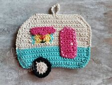 Camper Potholder Crochet Travel Trailer RV Kitchen Wall Decoration Hot Pad Blue
