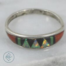 Vintage Sterling Silver | ZUNI Opal Coral Turquoise Onyx Inlay 1g | Ring (8.75)