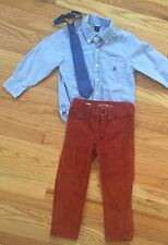 BABY GAP 3pc Outfit Lot - CORDUROY PANTS & BUTTON-DOWN DRESS SHIRT + NECK TIE