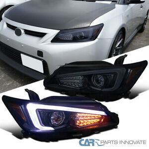 For 11-13 Scion tC Glossy Black Projector Headlights+LED Light Bar Signal Lamps