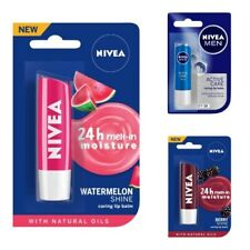 NIVEA Lip Balm, Fruity Watermelon Shine, Active Care, Blackberry Shine 4.8g