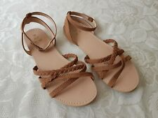 H&M Girl's Ankle Strap Sandals Shoes Light Brown Size UK4