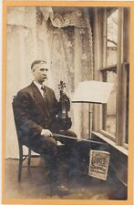 Real Photo Postcard RPPC - Man with Violin & Music Stand Conqueror Violin Solos
