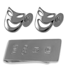 Sterling Silver Comedy & Tragedy Mask Cufflinks James Bond Money Clip Box Set