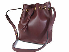 Authentic Must De CARTIER Bordeaux Leather Drawstring Shoulder Bag CS14431L