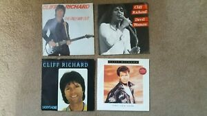 """Cliff Richard - 4 x 7"""" Singles - Devil Woman,  The Only Way Out + 2 others"""