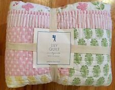 Pottery Barn Kids Lily Quilt Twin Pink Flowers Green Yellow