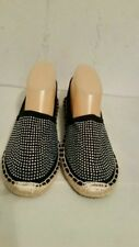 NWOB Womens Bucco Capensis Black Pull On Rhinestone Front Espadrilles In Size 10