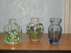 TWO'S COMPANY Vintage Hand Painted & Hand Blown Blue Glass Vases (Set of 3)