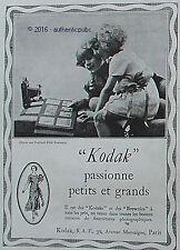 PUBLICITE KODAK APPAREIL PHOTO PASSIONNE LES ENFANTS DE 1923 FRENCH AD PUB RARE