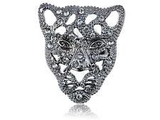 Gunmetal Filigree Face of Cheetah Rhinestone Encrusted Adjustable Fashion Ring