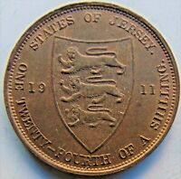 1911 JERSEY George V 1/24 Shilling (1/2 Penny)  grading Red and Brn UNCIRCULATED
