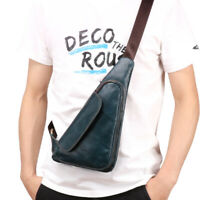 Men's Genuine Leather Casual Sling Chest Crossbody Shoulder Triangle Travel Bag