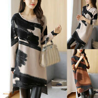 Women Casual Print Sweater Dress Ladies Long Sleeve Jumper Winter Casual Dresses