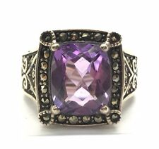 Sterling 925 Oxidized Emerald Cut Purple Amethyst / Marcasite Halo Cocktail Ring