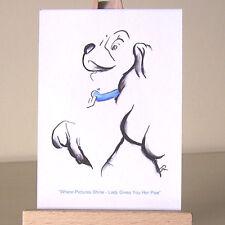 ART Deco WDCC Lilli e il Vagabondo ACEO carta disegno in miniatura con colletto blu