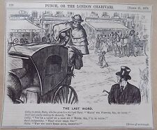 Punch Antique Book Print 1874 Satire Cartoon London Cabbie Cabby Horse 7x6 Inch