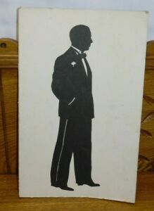 Vintage / Antique Cut Silhouette Of Man Standing In Tuxedo