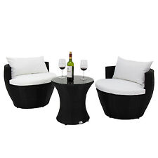 3 PC Patio Rattan Sofa Furniture Set Vase Design Balcony Garden Deck Lawn Pool
