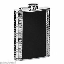 Hip Flask 8oz Stainless Steel Ribbed Black Leather Effect