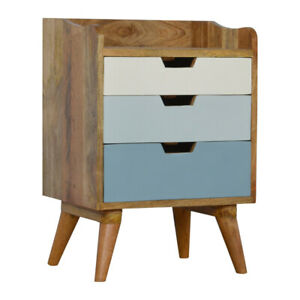 Blue and White Gradient Bedside 3 Drawers Solid Wood H63 x W45 x D35 cm