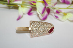 3.86ct Natural Round Diamond 14K Solid Rose Gold Ruby Wedding Ice Cream Brooch