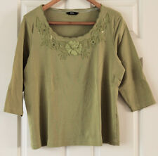 M&S pure cotton embroidered blouse/top (16), avacado colour. Marks and Spencer