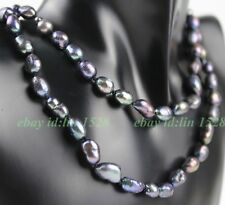 """110# Handmade 7-8mm Black real freshwater Pearl Double-deck  Necklace 17-19"""""""