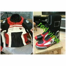 RED VIEW MOTORCYCLE MOTOGP MOTORBIKE DUCATI CURSE RACING LEATHER JACKET & SHOES/
