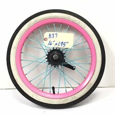 "16"" Rear Pink Bicycle Wheel w/ Coaster Brake & 1.95"" Whitewall Tire Bike #k37"
