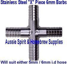 Brand New 4 Way Cross Piece for Home Brew Beer Gas Line Splitter 6mm Barbs