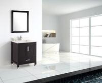 30 inch Modern Freestanding Espresso Bathroom Vanity wtih Quartz Top