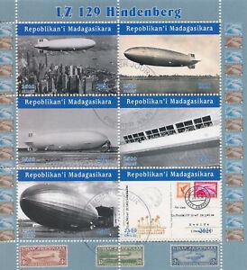 Madagascar 2021 CTO Aviation Stamps LZ 129 Hindenburg Zeppelins Airships 6v M/S
