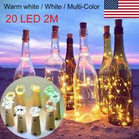 10pcs Warm Wine Bottle Cork Shape Lights 20 LED Night Fairy String Lights Lamp
